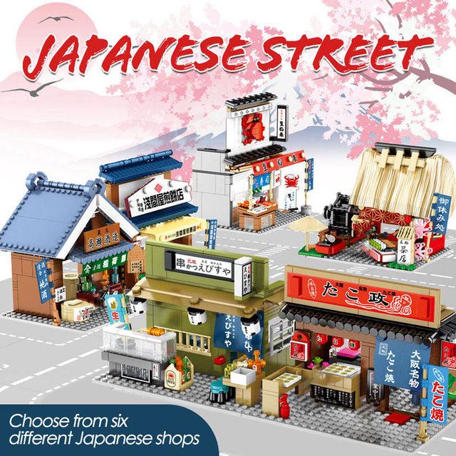 City Architecture Food Shop Retail Store Bricks Street View Restaurant House Set Model Building Blocks Toys For Girl