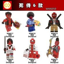 WM6050 Single Sale New Marvel Deadpool Super Heroes Painter Punk Rock Guitar Doctor Building Blocks Toys Kids Gift DIY