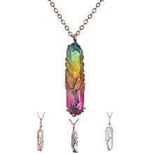 Colar com pendente em pedra de quartzo natural colorida