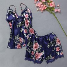 Sleep Lounge Pajama Set Sexy Satin Sleepwear Women Summer Pyjama Femme Fashion Flower Pajamas for Women with Chest Pad