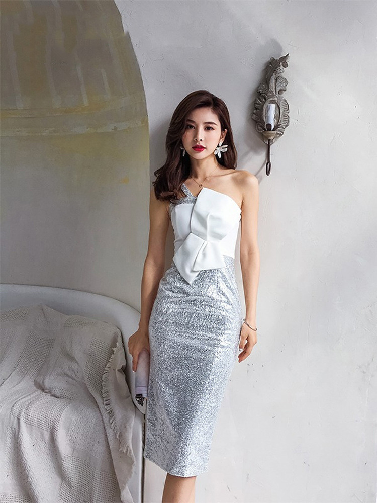 Tube Top Small Evening Dress Women's 2019 New Style Banquet Debutante Birthday Party Dress Mid-length Slimming Dress Autumn