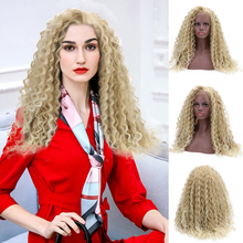 24'' Long Curly Synthetic 15*4.5 Swiss Lace Front Wig Deep Blond Bohemian Natura