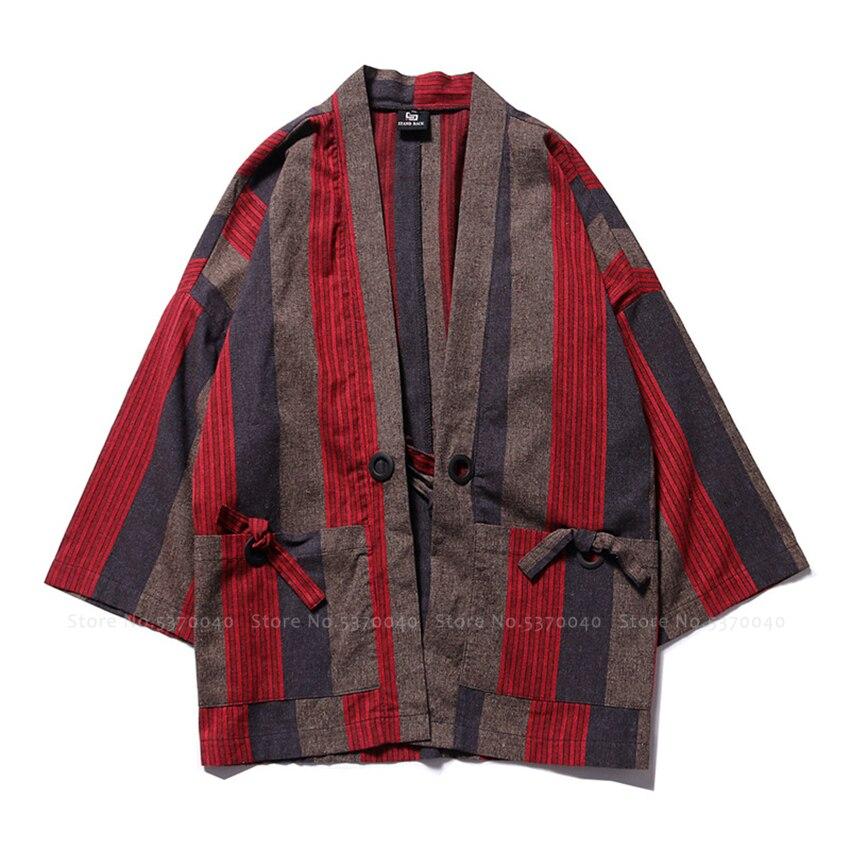 Japanese Traditional Kimono Robes Men Cotton Striped Yukata Haori T-shirt Chinese Style Cardigan Summer Beach Loose Blouse Coats