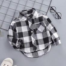 IENENS Toddler Baby Shirt Thin Clothes Spring Clothing Infant Boy Plaid Cotton Tops 1 2 3 4 Years Kids Long Sleeves Shirt