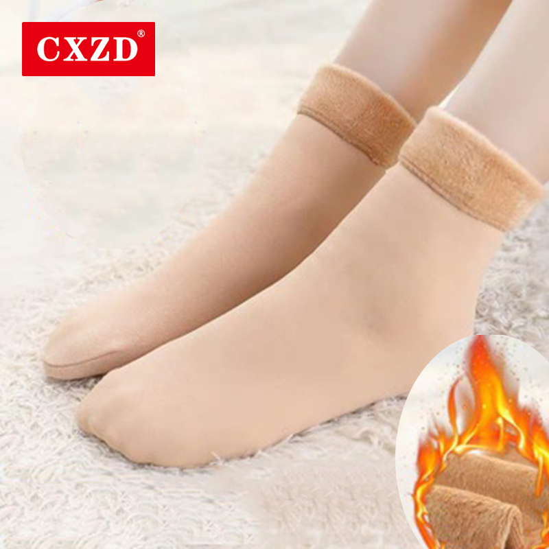 CXZD Winter Wamer Women Thicken Thermal Wool Cashmere Snow Socks Seamless Velvet Boots Floor Sleeping Socks For Ladies