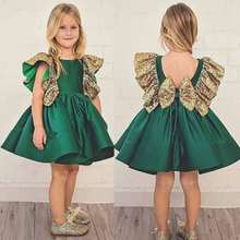 European and American fashion girls dress sequined flying sleeve Bow Backless Princess Dress summer baby dress стоимость
