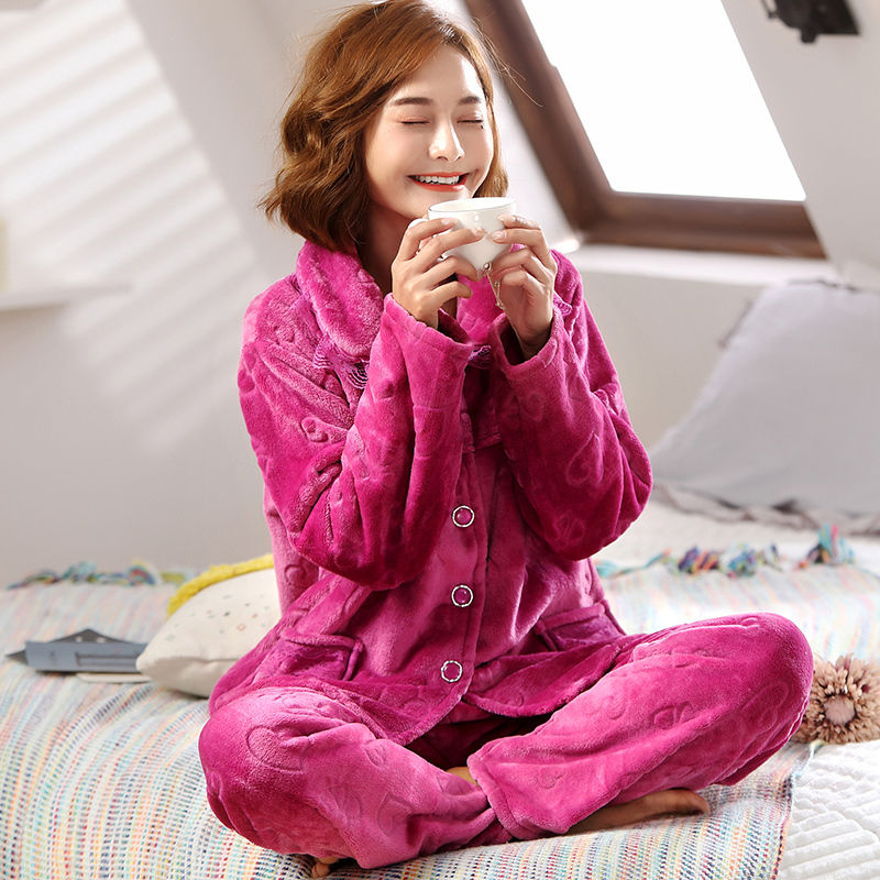 Thick Warm Flannel Women Pajamas Sets Autumn Winter Flower Pajamas For Women Female Sleepwear Home Clothing Women's Pyjamas Suit