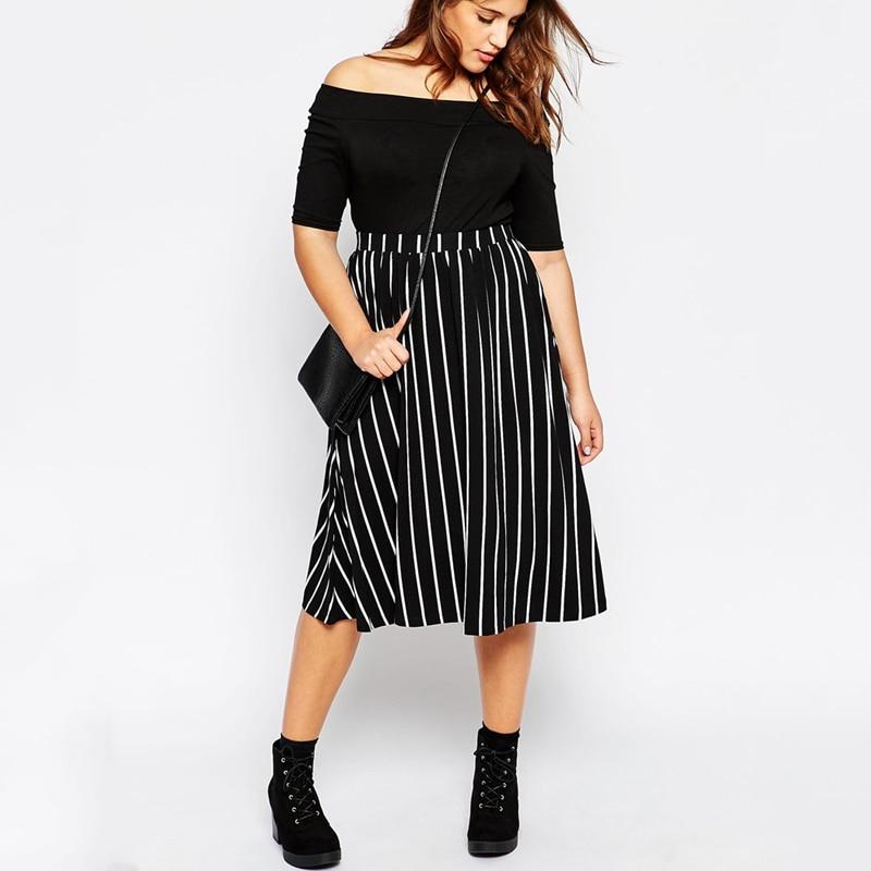 Autumn Summer Vertical Striped Skirts Women 2XL To 7XL 8XL Plus Size Long Skirt Elegant Casual High Waist Skirt T1473N