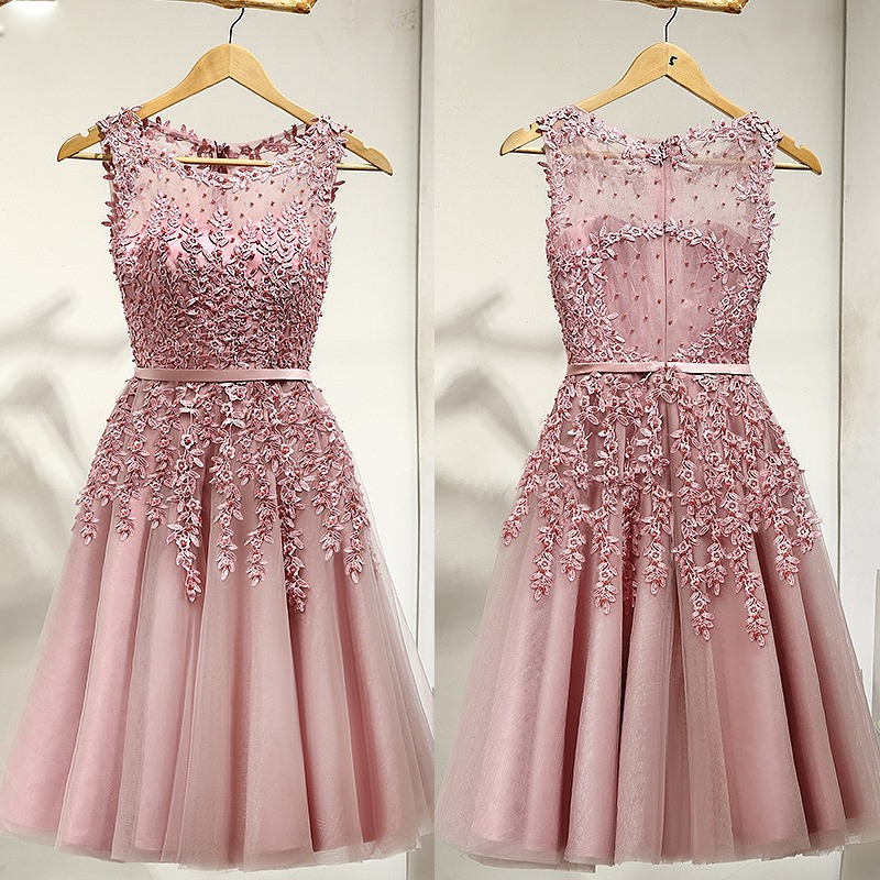 Pink Short   Prom     Dresses   2019 Knee Length Lace Appliques Beaded Sheer Back Formal Party Gowns A-Line Homecoming   Dress   Customized