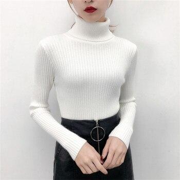 Fashion Women 2019 Korean Winter Clothes Turtleneck Scarf Collar Sweater Rolls Woman High Neck Sweater Black Knitted Slim Shrug 6