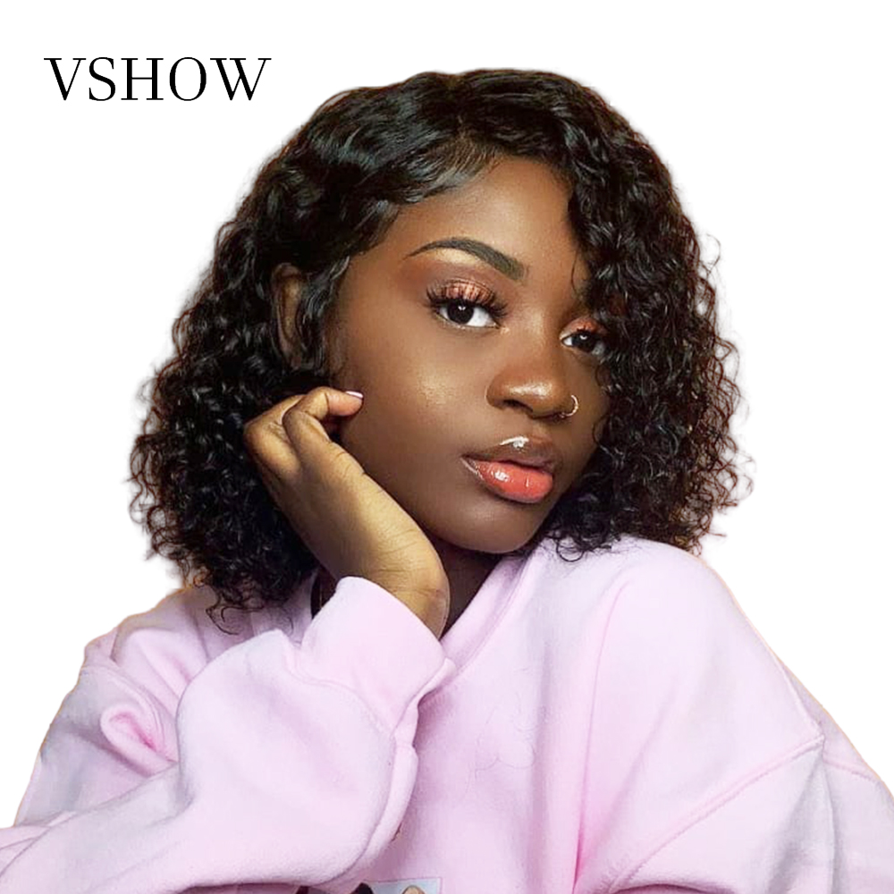 VSHOW 13x4 Water Wave Short Bob Wigs Pre Plucked With Baby Hair Human Hair WIg For Women 130 Remy Lace Front Brazilian Hair Wigs