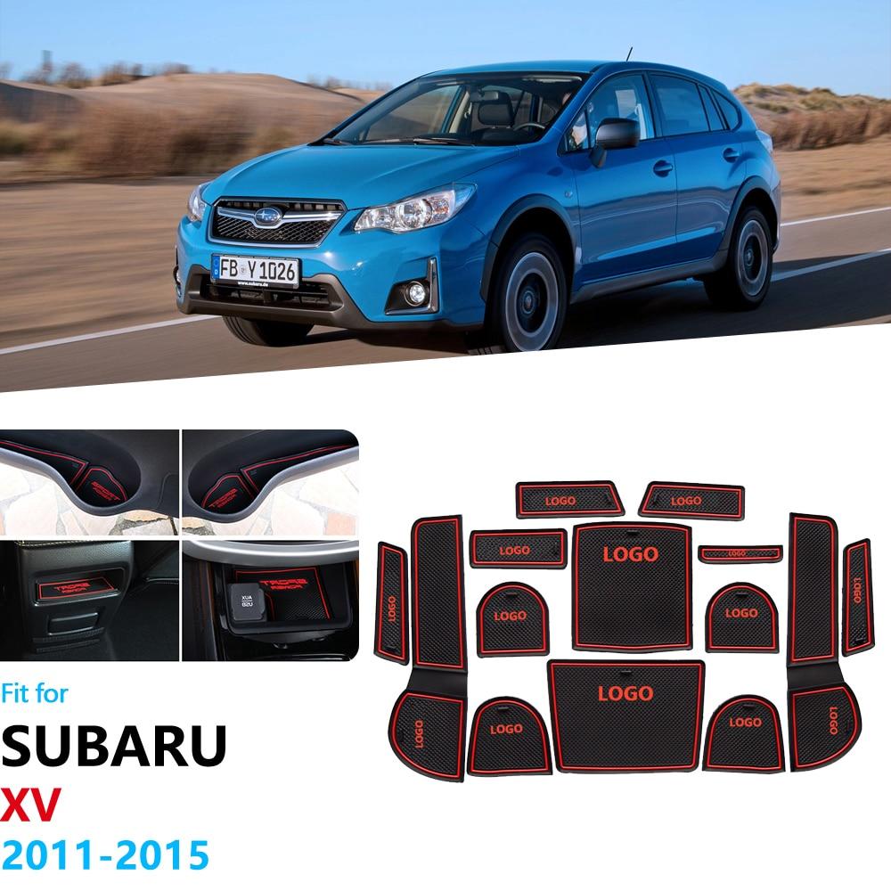 Противоскользящие резиновые ворота слот чашки коврик для Subaru XV 2011 2012 2013 2014 2015 Crosstrek WRX STI Coaster аксессуары наклейки для автомобиля