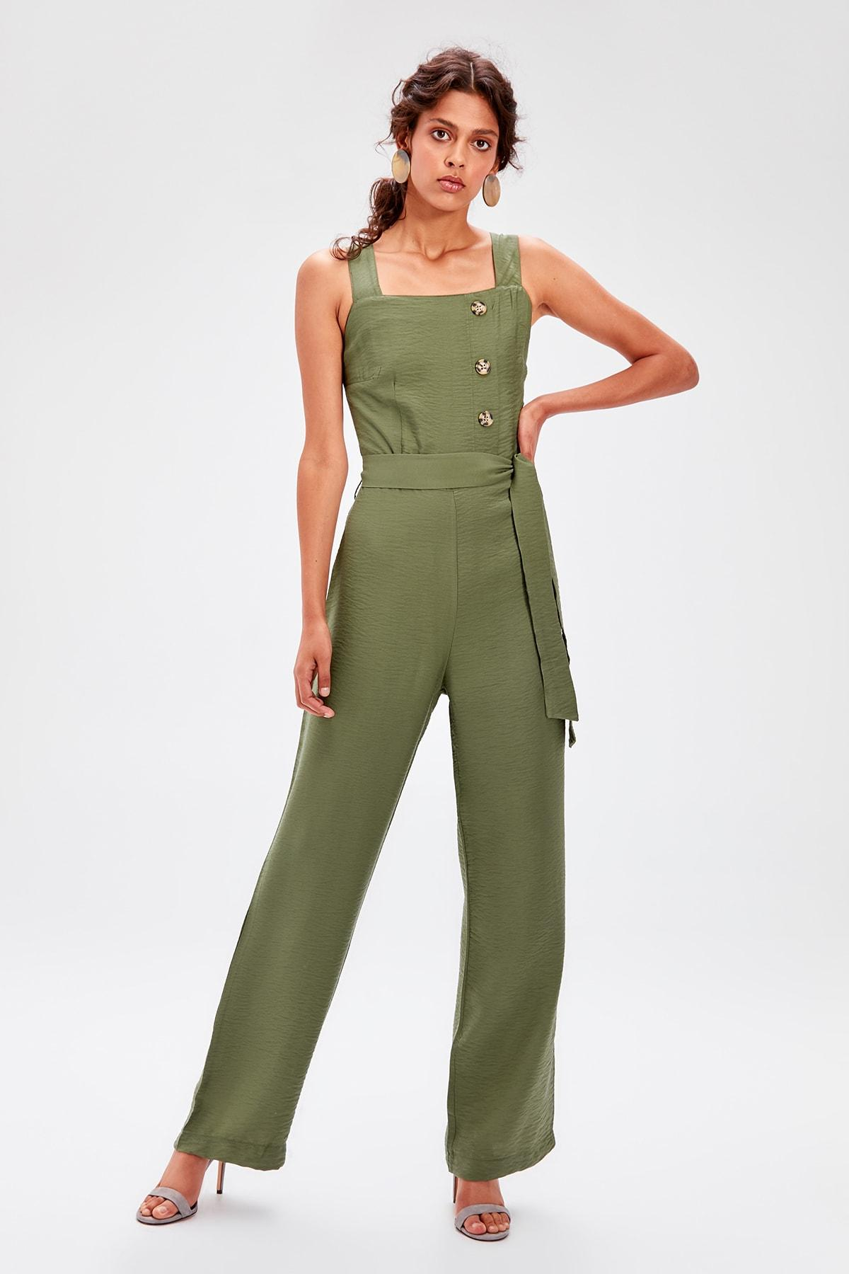 Trendyol Haki Belted Button Jumpsuit TWOSS19TU0038