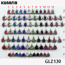 stainless steel small pendant with rhinestone lovely charms 12pcs mix color GLZ130