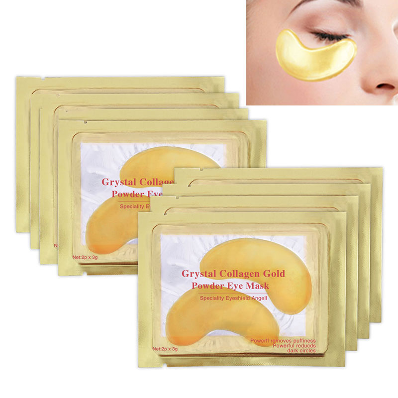 1Pack=2Pcs Natural Crystal Collagen Golden Eye Mask Anti-Aging Face Care Sleeping Eye Patches Eliminates Dark Circles Fine Lines