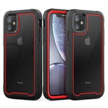 Stoßfest Hybrid Rüstung Telefon Telefon Fall Für iPhone X XR XS Max 6 6S 7 8 Plus Klar TPU + PC 2 in 1 Volle Schutz Zurück abdeckung