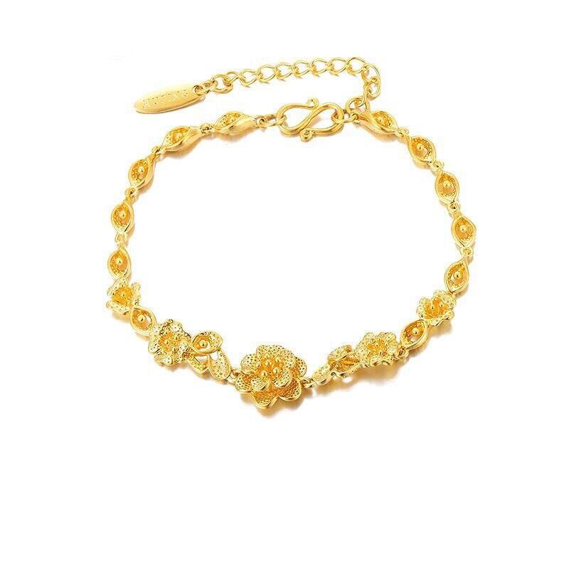 MxGxFam (17,5 см + 3 см) браслет с цветами ювелирные изделия для женщин 24 K чистый золотой цвет от XP