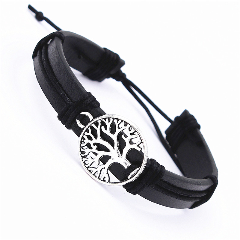DGW Tibetan Silver theTree of life Braided Leather Bracelet 10 colors Fashion Jewelry Bangles for Men and women