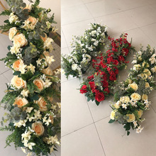 1m wedding arrangement decor Eucalyptus artificial flower wall foam base road leads silk T stage layout decorative wreath