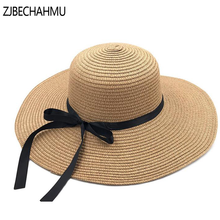 Round Top Wide Brim Straw Hats Summer Sun Hats for Women with Leisure Beach Hats Lady Flat Gorras