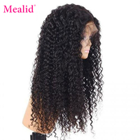 Mealid Peruvian Hair 13x4/13x6 Kinky Curly Human Wig Remy Hair 150% Density Pre Plucked With Baby Hair Natural Color