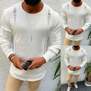 Modis Men Ripped Sweater Cotton Soft Male Winter Warm Knit Clothes Casual Cool Pullover O-Neck Long Sleeve Men Ripped Sweater