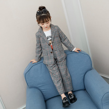 Teenage Girls Clothing Set Autumn Spring Plaid Suit set Jackets +Pants School Tracksuit Clothes Children