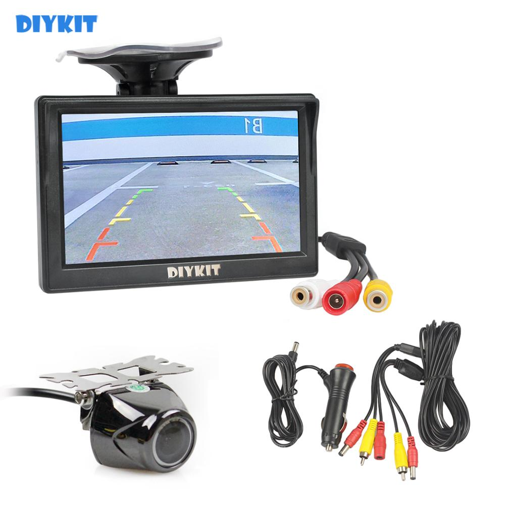 DIYKIT Car Parking Assistance 5 Inch Rear View Monitor + Car Reversing Rearview Backup Camera With Rubber Vacuum Cup Bracket
