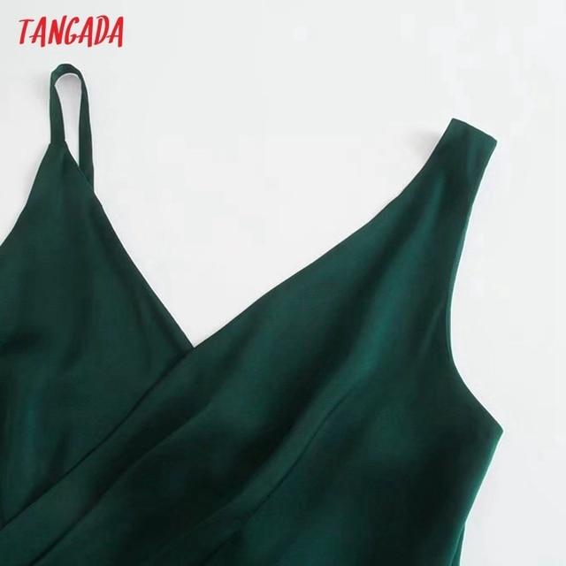 Tangada Women Green Elegant Party Dress Sleeveless Backless 2021 Fashion Lady New Year Dresses 3H845 2