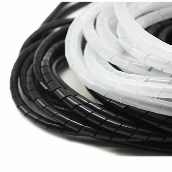 10 meters Spiral Tube Flexible Cord PC Home Cinema Cable Wire Organizer Wrap Management Black White