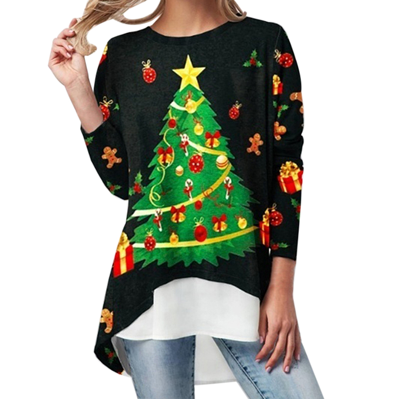 2020 Christmas Blosue Women Autumn Winter Santa Claus Print Irregular Female Shirts Womens Blouses Plus Size 4XL Blusas