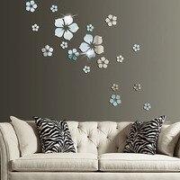 Espejo de flores adhesivas para pared, Adhesivo acrílico 3D para pared, Fondo de TV, Mural de arte, decoración del baño, decoración del hogar, 18 Uds.