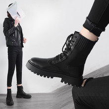 Купить с кэшбэком Women Ankle Boots Female Lace-Up Sock Boots Black Vintage Shoes Spring/Autumn/Winter Casual Ladies Platform Shoes Woman Footwear
