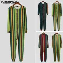 Jumpsuit Sleepwear Rompers Pajamas Incerun Men Mens Button Striped S-5xl-7 Cozy Fitness