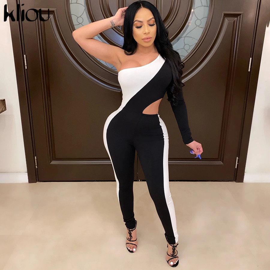 Kliou Jumpsuit Women Backless Single One-shoulder Fitness Bodysuit Long Length 2020 Elastic Outfit Low-neck Female Sexy Rompers