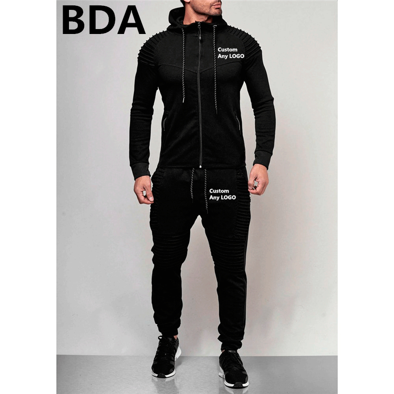 BDA Man Custom Any LOGO Sweatshrts Men's Sport Hoodies Sets Unisex Spring Suits Outerwear Zipper Fleece Male Coats Tracksuits