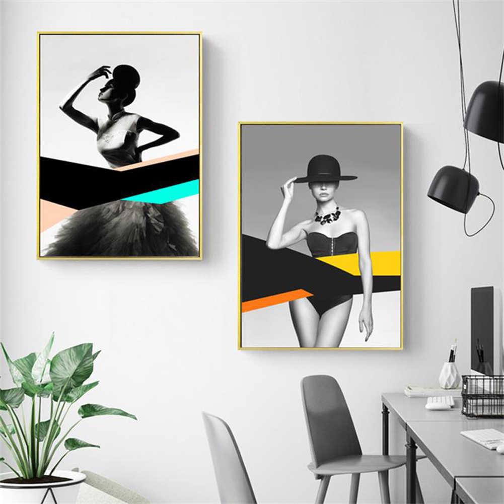 Nordic Living Room Decor Donna Artistica della Tela di Canapa Pittura Poster Immagine di Arte Della Parete