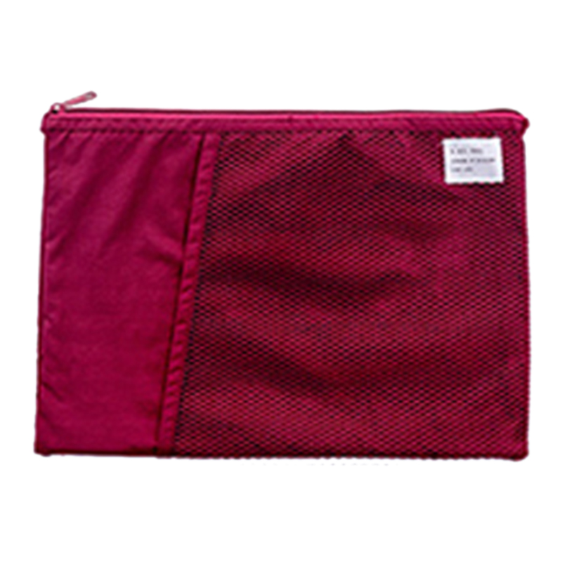 Multi-Function A4 Grid File Folder Fabric Document Bags Holder Storage For Paper Bill Stationery Package Pouch School Office Red