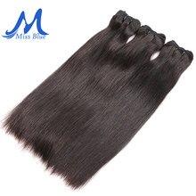 Missblue indiano virgem cabelo pacotes de grau reto 10a cru indiano cabelo humano tecer pacotes de extremidade completa 1 3 4 p/lotes extensões do cabelo