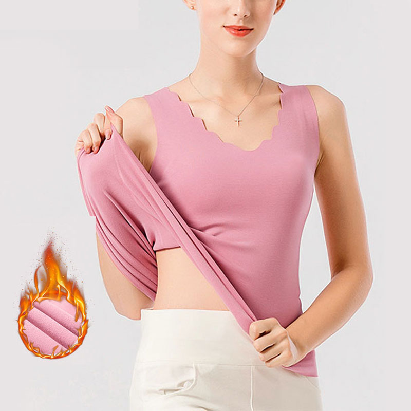 Thermal Shirt Women Sleeveless Elastic Velvet Vest Women Thermal Top Petal Neckline Warm Underwear Women Soft Thermo Shirt Women