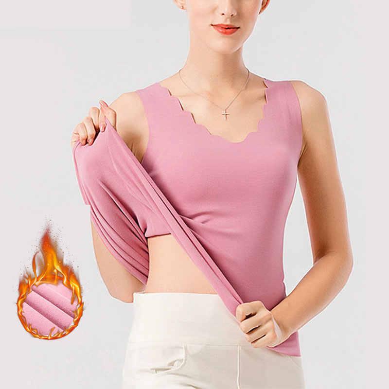 Thermische Shirt Frauen Ärmellose Elastische Samt Weste Frauen Thermische Top Blütenblatt Ausschnitt Warme Unterwäsche Frauen Weiche thermo hemd frauen