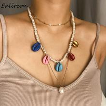 Salircon Fashion Color Shell Choker Necklace Temperament Imitation Pearl Geometric Irregular Round Women Party Gifts