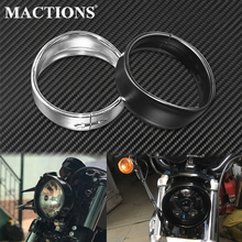 "Motocicleta 5.75 ""farol lâmpada moldura guarnição anel preto/cromo para harley sportster xl 883 883n 1200 dyna softail fxlr fxst fxstb"