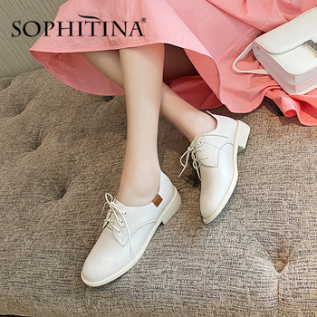 SOPHITINA Office Career Women Flats Round Toe Lace-Up High-Quality Cow Leather Comfortable Ladies Shoes Fashionable Flats SO323