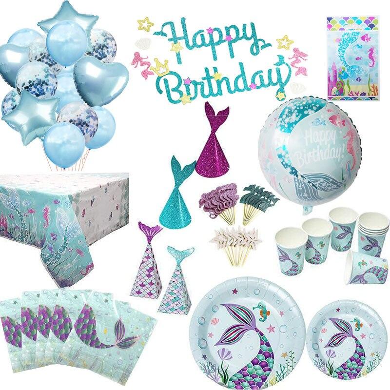 Русалки набор одноразовой посуды Русалка тематические праздничные Детские Девушки День рождения Baby Shower Русалка для вечеринок под водой