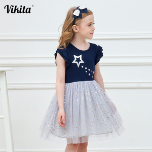 VIKITA Girls Princess Dress Kids Unicorn Dresses for Girls Children Sequins Dresses Toddlers Tutu Dress Girl Summer Vestidos(China)