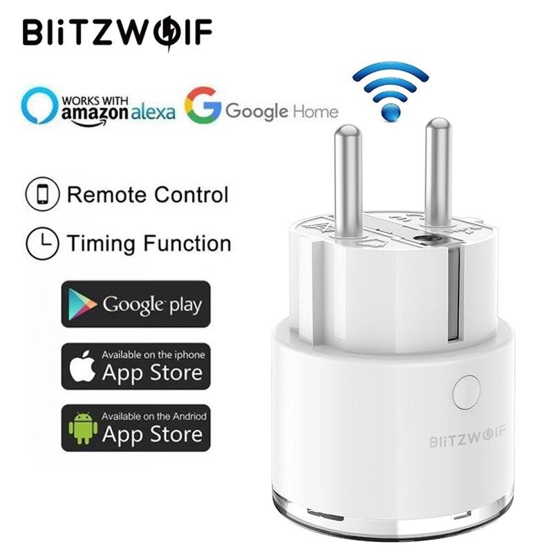 Blitzwolf BW-SHP6 ue plug 220 v-240 v 10a versão de medição wifi tomada inteligente cronometragem trabalho de controle remoto com amazon alexa/google