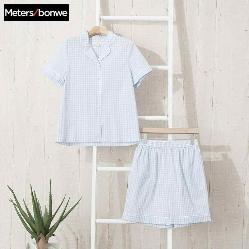 Metersbonwe Frauen pyjamas set Frauen Pyjamas gitter Weibliche Kühle sommer Pyjama Set Komfortable kurzarm shorts Zwei Stück