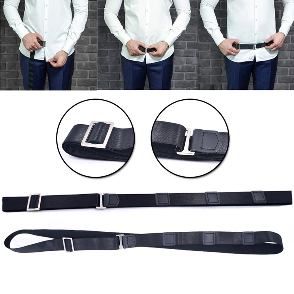 Mens Fashion Adjustable Near Shirt Stay Belt Black No Slip Shirt Stays Shirt Holders For Women Men Formal Dressing