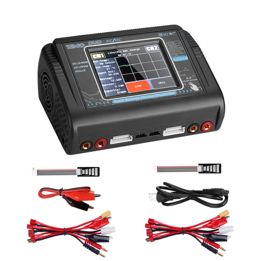 Original HTRC T240 Duo RC Charger Discharger Dual Channel AC 150W DC 240W Touch Screen Balance Lipo Charger For RC Car Model Toy